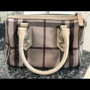 Burberry beige smoked check bowling bag